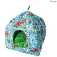 Домик-лежак Родные места Избушка №1 для собак и кошек (42 х 42 50 см, Маки)